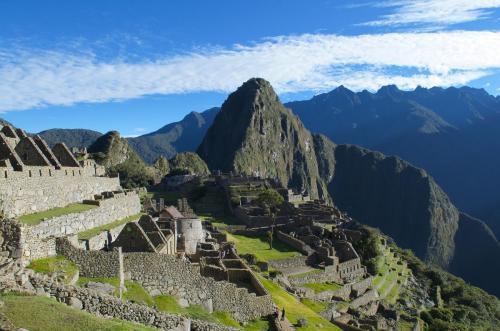 Machu Picchu lit up by the sunrise
