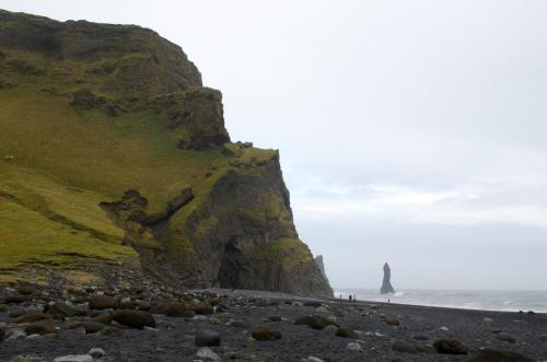 The volcanic sand of Reynisfjara beach in Southern Iceland