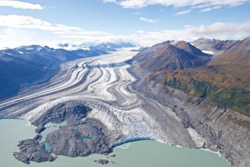 The Lowell Glacier in Yukon, taken from a Cessna 207